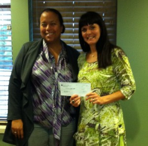 Associates of Ministry Saint Clare's Hospital donated $550; Antonina Olszewski of Ministry presented the check