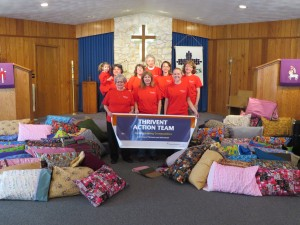 Donation of 72 pillows and homemade pillow cases from the Thrivent Action Team