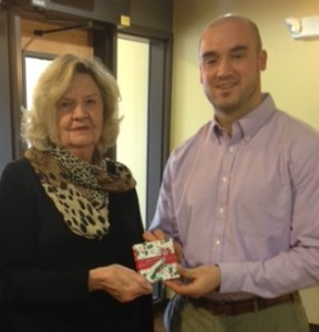 Gail Mayer making a donation on behalf of the Marathon County Republican Women organization