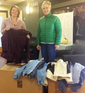 Sheppard & Schaller donated boxes of new coats