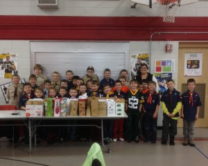 Troop 453 Rib Mountain Scouts did a food drive donation.