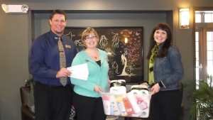 Wish List items and financial donations from US Bank; with Kristine Ballesteros and Terry Barnett
