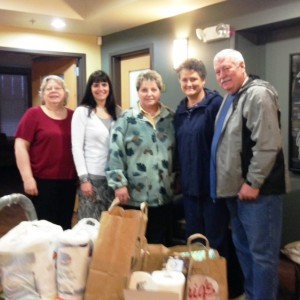 Wish List items donation by Sue Dixon, Jane, Leann Gallagher, Joyce Skarre and Tom Skarre of The Pines at Mt. View.